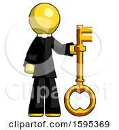 Yellow Clergy Man Holding Key Made Of Gold