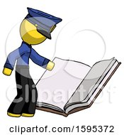 Poster, Art Print Of Yellow Police Man Reading Big Book While Standing Beside It