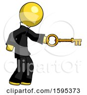 Yellow Clergy Man With Big Key Of Gold Opening Something
