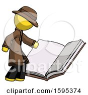 Poster, Art Print Of Yellow Detective Man Reading Big Book While Standing Beside It