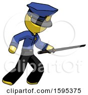 Yellow Police Man Stabbing With Ninja Sword Katana