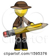 Yellow Detective Man Writer Or Blogger Holding Large Pencil