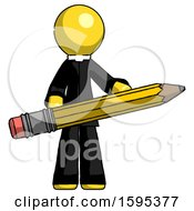 Yellow Clergy Man Writer Or Blogger Holding Large Pencil