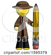 Yellow Detective Man With Large Pencil Standing Ready To Write