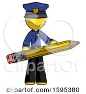 Yellow Police Man Writer Or Blogger Holding Large Pencil