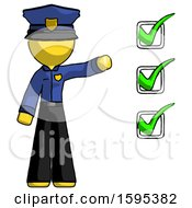 Yellow Police Man Standing By List Of Checkmarks