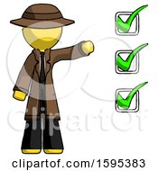 Yellow Detective Man Standing By List Of Checkmarks