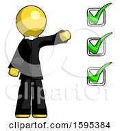 Yellow Clergy Man Standing By List Of Checkmarks
