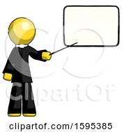 Yellow Clergy Man Giving Presentation In Front Of Dry Erase Board