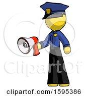 Yellow Police Man Holding Megaphone Bullhorn Facing Right