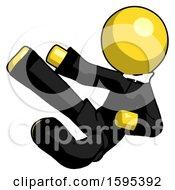 Yellow Clergy Man Flying Ninja Kick Left
