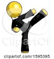 Yellow Clergy Man Ninja Kick Right