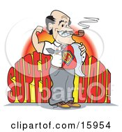 Proud Man Smoking A Tobacco Pipe And Moving His Shirt To Show His Super Dad Uniform Clipart Illustration by Andy Nortnik