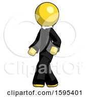Yellow Clergy Man Man Walking Turned Left Front View