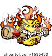 Clipart Of A Tough Flaming Softball Mascot Biting A Baseball Bat Royalty Free Vector Illustration