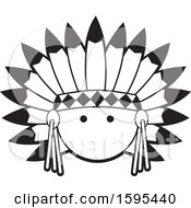 Clipart Of A Cartoon Black And White Native American Chief School Sports Mascot Royalty Free Vector Illustration