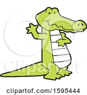 Clipart Of A Cartoon Alligator School Sports Mascot Waving Royalty Free Vector Illustration