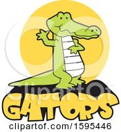 Clipart Of A Cartoon Alligator School Sports Mascot Waving Over A Sun And Text Royalty Free Vector Illustration by Johnny Sajem