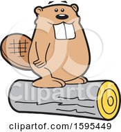 Clipart Of A Cartoon Beaver School Sports Mascot Standing On A Log Royalty Free Vector Illustration
