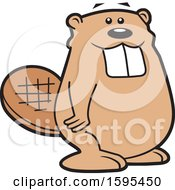 Clipart Of A Cartoon Beaver School Sports Mascot Royalty Free Vector Illustration by Johnny Sajem