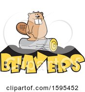 Clipart Of A Cartoon Beaver School Sports Mascot Standing On A Log Over Yellow Text Royalty Free Vector Illustration