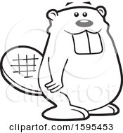 Clipart Of A Cartoon Black And White Beaver School Sports Mascot Royalty Free Vector Illustration by Johnny Sajem
