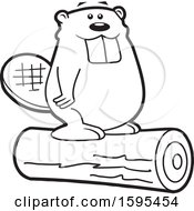 Clipart Of A Cartoon Black And White Beaver School Sports Mascot Standing On A Log Royalty Free Vector Illustration