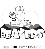 Clipart Of A Cartoon Black And White Beaver School Sports Mascot Standing On A Log Over Text Royalty Free Vector Illustration