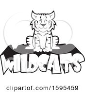 Clipart Of A Cartoon Black And White Bobcat School Sports Mascot Sitting On Wildcats Text Royalty Free Vector Illustration by Johnny Sajem