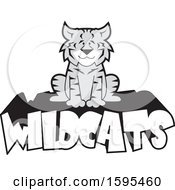 Clipart Of A Cartoon Grayscale Bobcat School Sports Mascot Sitting On Wildcats Text Royalty Free Vector Illustration by Johnny Sajem