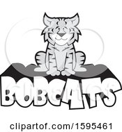 Clipart Of A Cartoon Grayscale Bobcat School Sports Mascot Sitting On Text Royalty Free Vector Illustration by Johnny Sajem