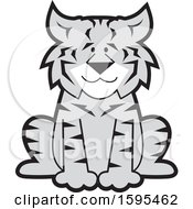 Clipart Of A Cartoon Grayscale Bobcat School Sports Mascot Royalty Free Vector Illustration by Johnny Sajem