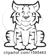 Clipart Of A Cartoon Black And White Bobcat School Sports Mascot Royalty Free Vector Illustration by Johnny Sajem