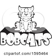 Clipart Of A Cartoon Black And White Bobcat School Sports Mascot Sitting On Text Royalty Free Vector Illustration by Johnny Sajem