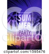 Clipart Of A Tropical Sunset And Palm Tree Background With Summer Party Text Royalty Free Vector Illustration