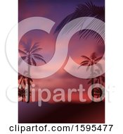 Clipart Of A Tropical Sunset And Palm Tree Travel Background Royalty Free Vector Illustration by dero