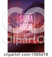 Tropical Sunset And Palm Tree Background With Summer Time Text