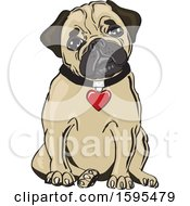Clipart Of A Cute Sitting Pug Dog With A Heart Collar Royalty Free Vector Illustration