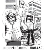 Clipart Of A Grayscale Scene Of Rescue Workers After Aan Earthquake In Mexico Royalty Free Vector Illustration