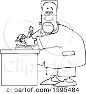 Clipart Of A Cartoon Lineart Black Male Scientist Using A Microscope Royalty Free Vector Illustration