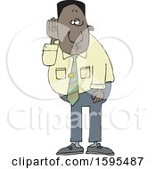 Clipart Of A Cartoon Black Business Man Cupping His Ear To Listen Royalty Free Vector Illustration