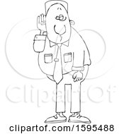 Clipart Of A Cartoon Lineart Black Business Man Cupping His Ear To Listen Royalty Free Vector Illustration