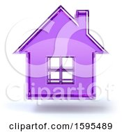 Clipart Of A 3d Purple Glass House Floating On A White Background Royalty Free Illustration