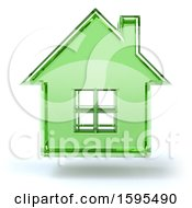 Clipart Of A 3d Green Glass House Floating On A White Background Royalty Free Illustration