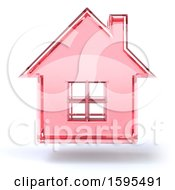 Clipart Of A 3d Pink Glass House Floating On A White Background Royalty Free Illustration