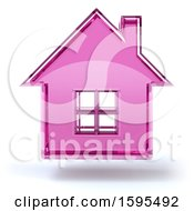 Clipart Of A 3d Fuchsia Glass House Floating On A White Background Royalty Free Illustration