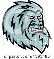 Clipart Of A Tough Yeti Mascot Head Royalty Free Vector Illustration