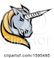 Clipart Of A Tough Gray And Yellow Unicorn Mascot Head Royalty Free Vector Illustration by patrimonio