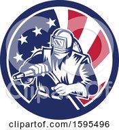 Poster, Art Print Of Retro Woodcut Sandblaster Worker In An American Flag Circle