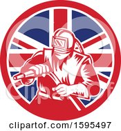 Clipart Of A Retro Woodcut Sandblaster Worker In A Union Jack Flag Circle Royalty Free Vector Illustration